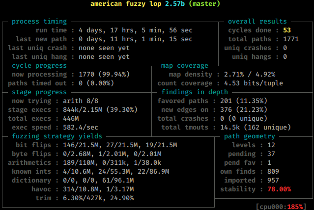 AFL Currently fuzzing for De-serialization bugs in PHP-7.12