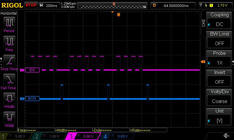 Registering multiple mole whacks using the oscilloscope